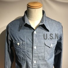 画像2: CUSHMAN(クッシュマン) CHAMBRAY WORK SHIRTS(U.S.NAVY) (2)