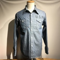 画像1: CUSHMAN(クッシュマン) CHAMBRAY WORK SHIRTS(U.S.NAVY) (1)