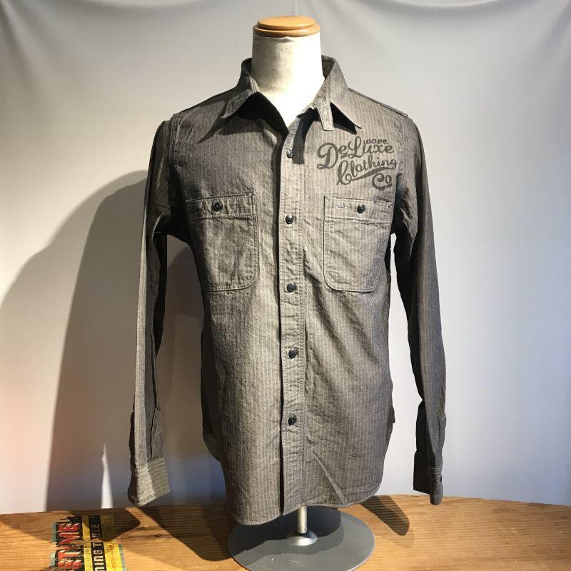 画像1: DELUXEWARE(デラックスウエア) インディゴヘリンボーン ワークシャツ (1)